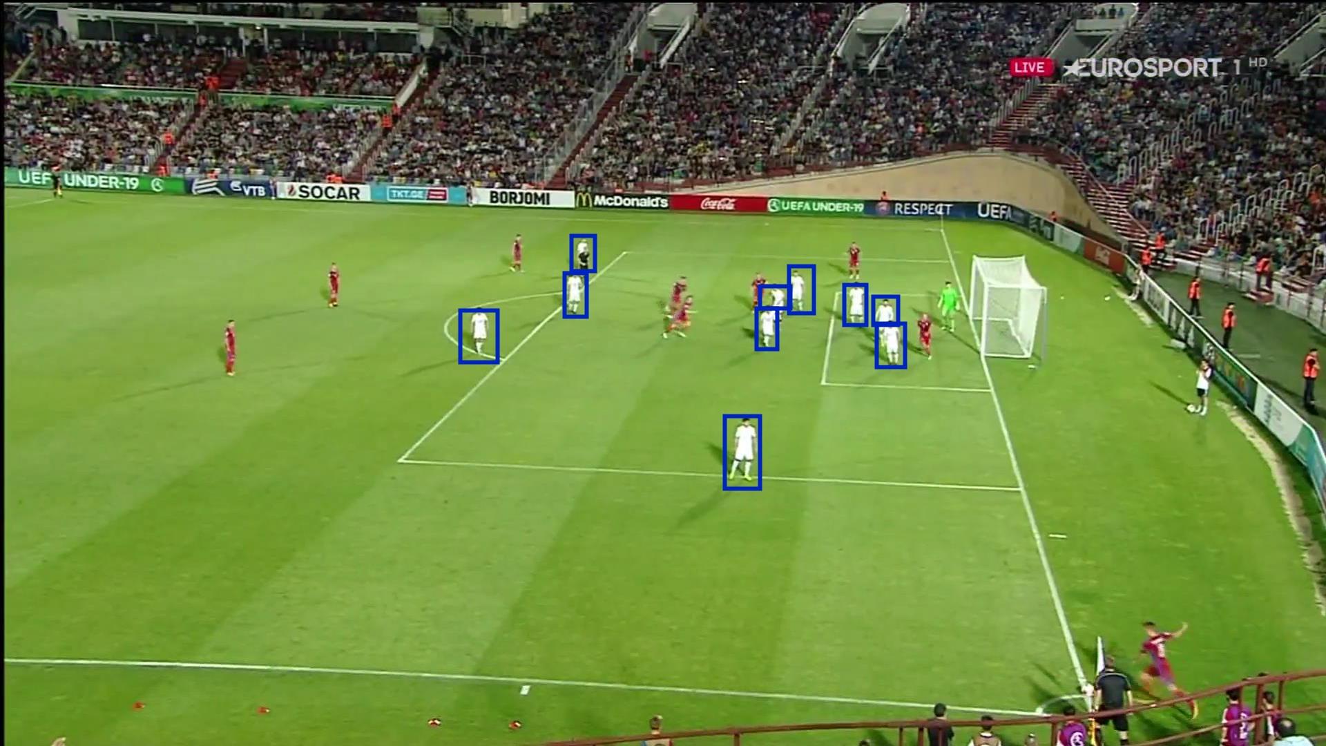 Saque Esquina defendido en Zona. República Checa 2 - Georgia 0. Eurocopa sub19 2017