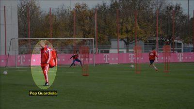Guardiola dirigiendo un circuito de entrenamiento en su etapa como entrenador del Bayern Munich