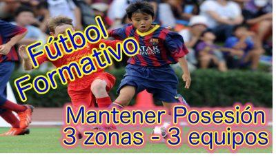 Conservar Posesión ante presión intensa. Ejercicio Entrenamiento Fútbol aplicado al Fútbol Base